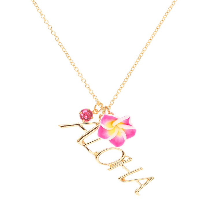 Gold Aloha Hawaiian Necklace Claires Us
