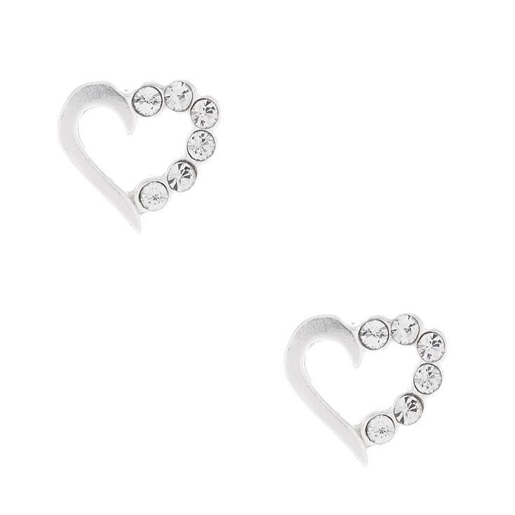 Sterling Silver Stone Heart Stud Earrings,