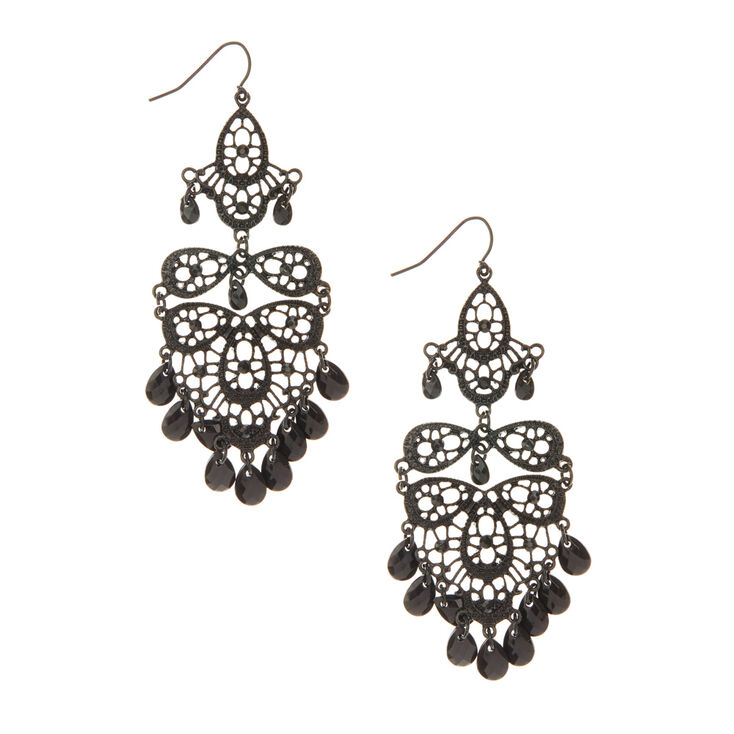 Black chandelier drop earrings claires black chandelier drop earrings aloadofball Gallery