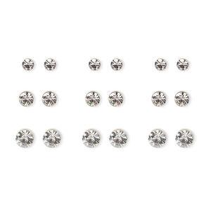 Silver Graduated Crystal Bezel Stud Earrings - 9 Pack,