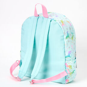 Unicorn Stars Striped Medium Backpack - Mint,