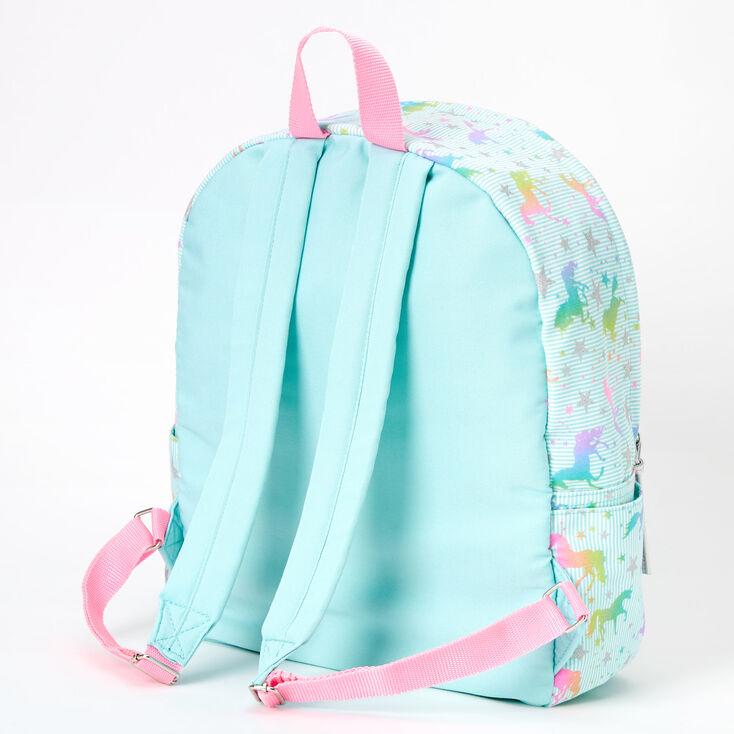 Unicorn Stars Striped Medium Backpack - Mint,