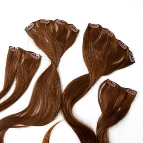Extra Long Straight Faux Hair Clip In Extensions - Brown, 4 Pack,