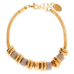 Gold Glitter Ring Chain Bracelet - Silver,