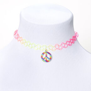 Rainbow Peace Sign Tattoo Choker Necklace,