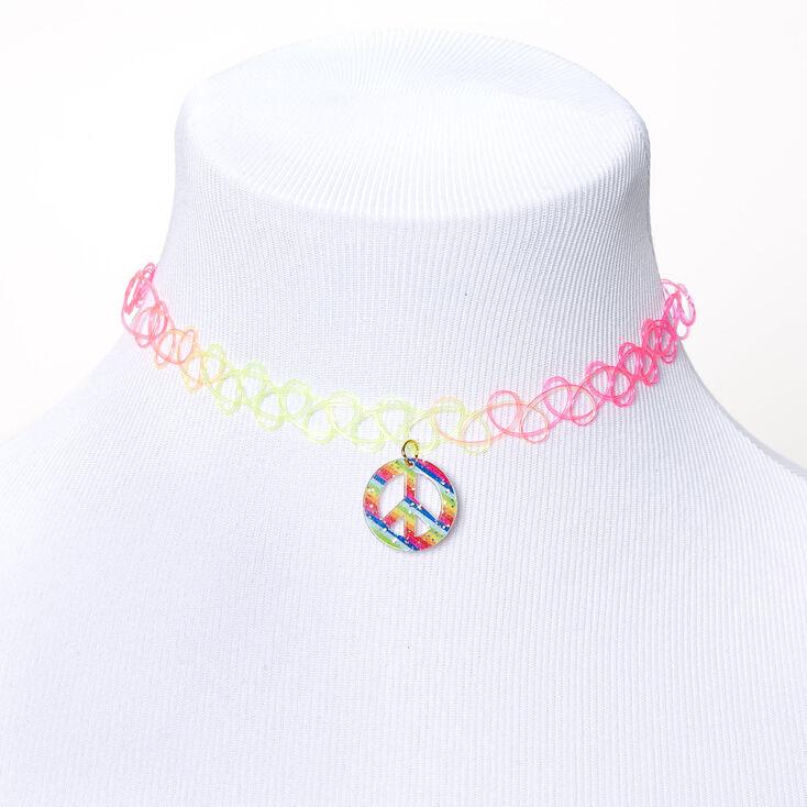 Rainbow Peace Sign Tattoo Choker Necklace,