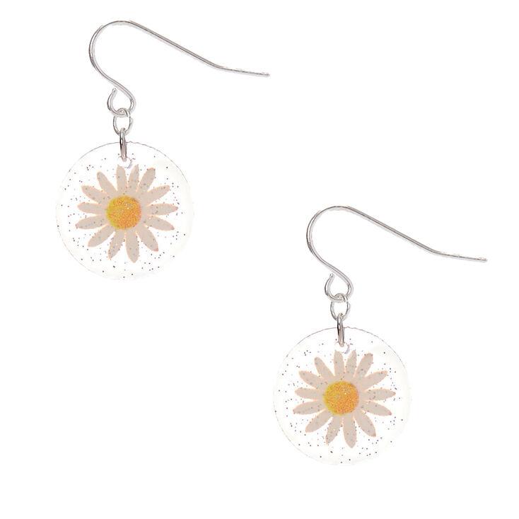"""Silver 1"""" Glitter Pressed Daisy Drop Earrings,"""