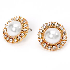 Gold Pearl Halo Stud Earrings,