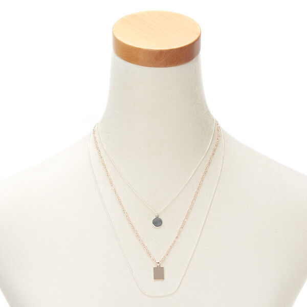 Claire's - mixed metal geometric strand necklace - 2