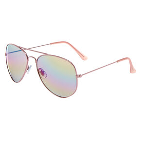 Mirrored Aviator Sunglasses - Pink,