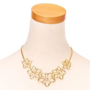 Gold Flower Statement Necklace,