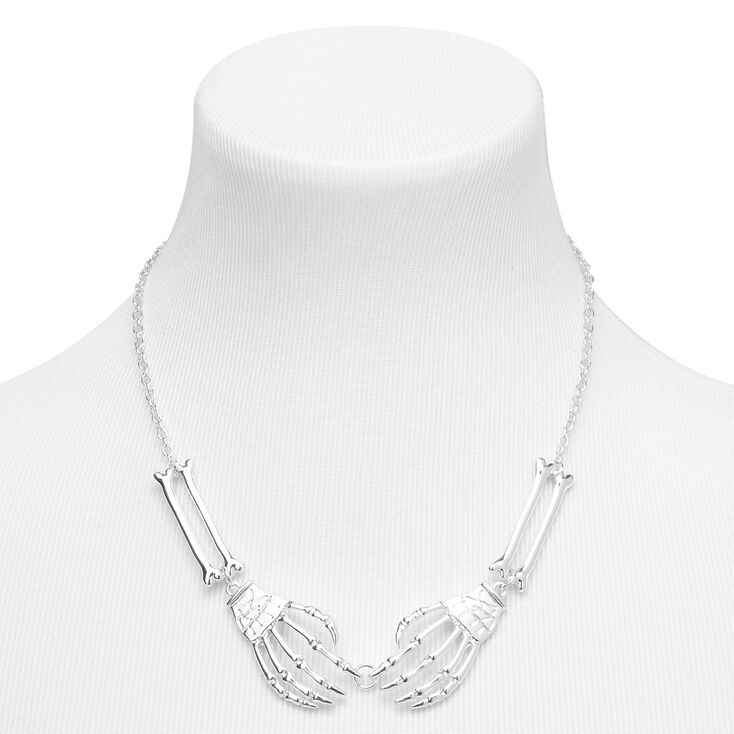Silver Skeleton Hand Necklace,
