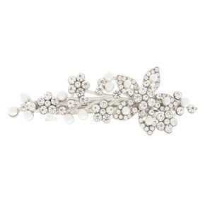 Silver Imitation Crystal & Pearl Flower Barrette,