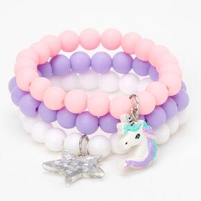 Claire's Club Unicorn Matte Beaded Stretch Bracelets - Lilac, 3 Pack,