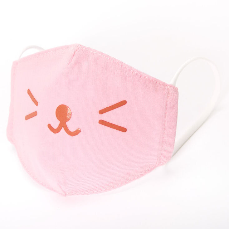 Cotton Pink Cat Whisker Face Mask - Child Small,