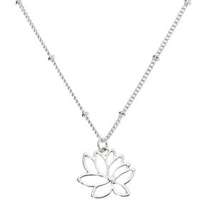 Silver Lotus Flower Pendant Necklace,