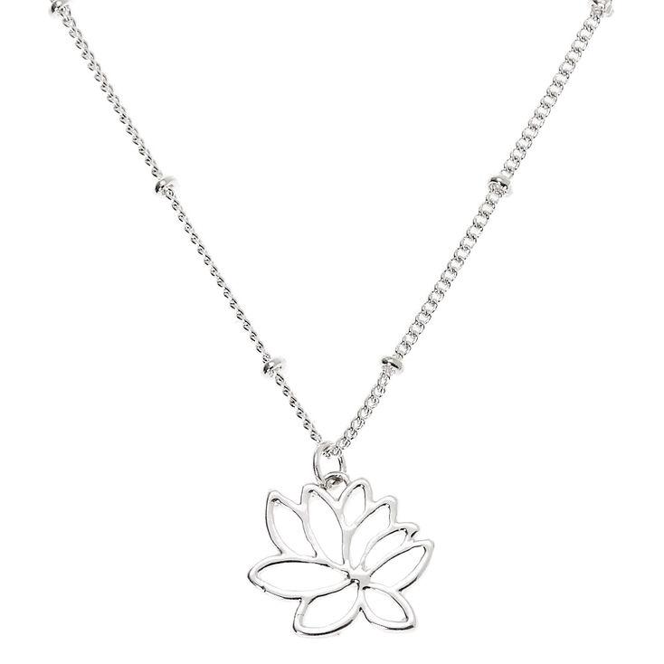 Silver Lotus Flower Pendant Necklace,