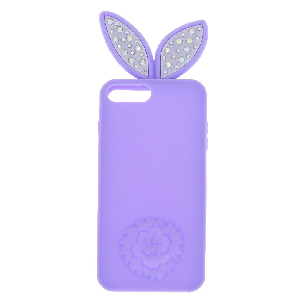 Coque de portable en silicone bling bling oreilles de lapin - Compatible avec iPhone 6/7/8