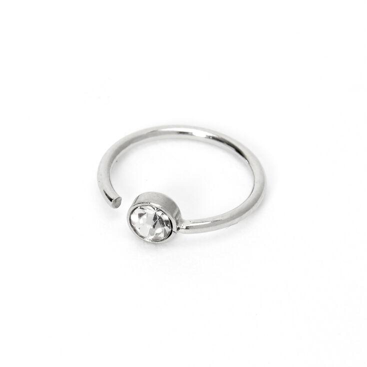 Silver 20G Crystal Hoop Nose Ring,