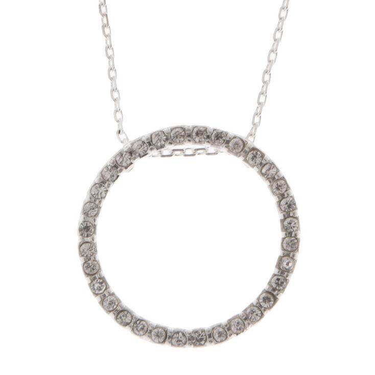 Pav eacute  Crystal Open Circle Pendant Necklace 99419f973