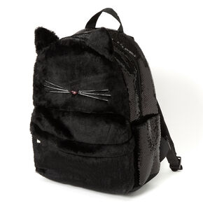 Plush Sequin Cat Medium Backpack - Black,
