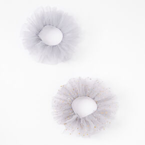 Claire's Club Grey Celestial Tulle Scrunchies - 2 Pack,