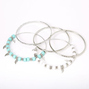 Silver Mint & White Beaded Feather Bangle Bracelets - 5 Pack,