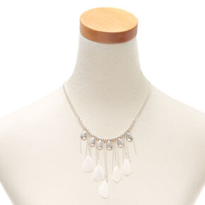Silver Feather Statement Necklace,