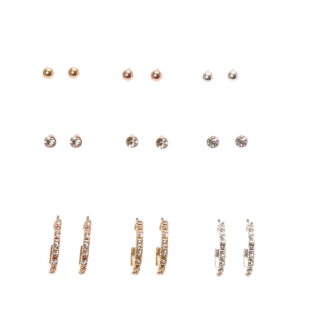 Claires Girls Mixed Metal Crystal Marble Mixed Earrings 9 Pack