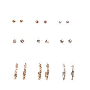 Mixed Metal Stud & Half Hoop Earrings - 9 Pack,