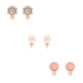 Rose Gold Embellished Clip On Stud Earrings - 3 Pack,
