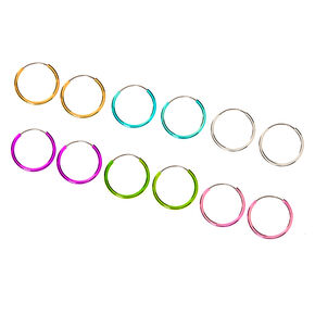 10MM Pastel Rainbow Hoop Earrings - 6 Pack,