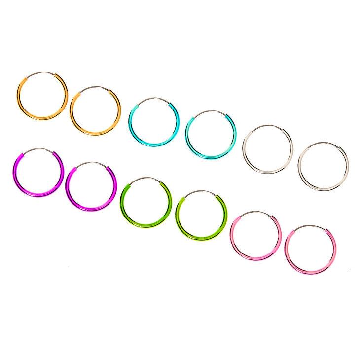 10MM Pastel Rainbow Hoop Earrings - 6 Pack,