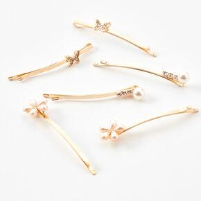 Gold Butterflies & Flowers Hair Pins - 6 Pack,