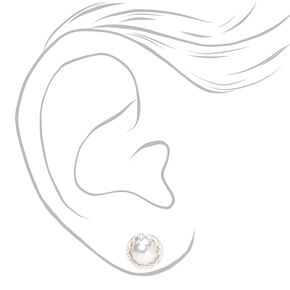 Silver Etched Frame Pearl Stud Earrings,