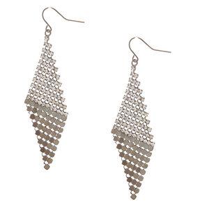 """Hematite 2.5"""" Crystal Mesh Drop Earrings,"""