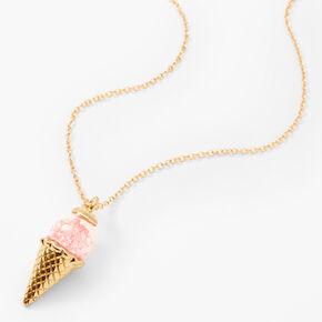Collier à pendentif cornet de glace à paillettes couleur dorée,