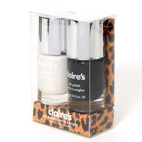 Solid Nail Polish Set - Black/White, 2 Pack,
