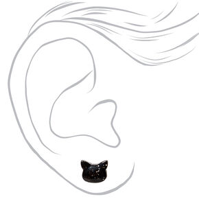 Silver Glitter Cat Stud Earrings - Black,