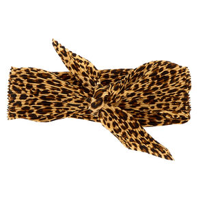 Pleated Leopard Print Bandana Headwrap,