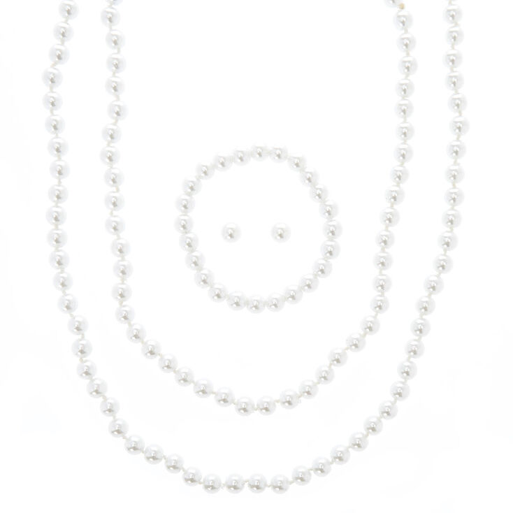 Parure de bijoux perles d'imitation,