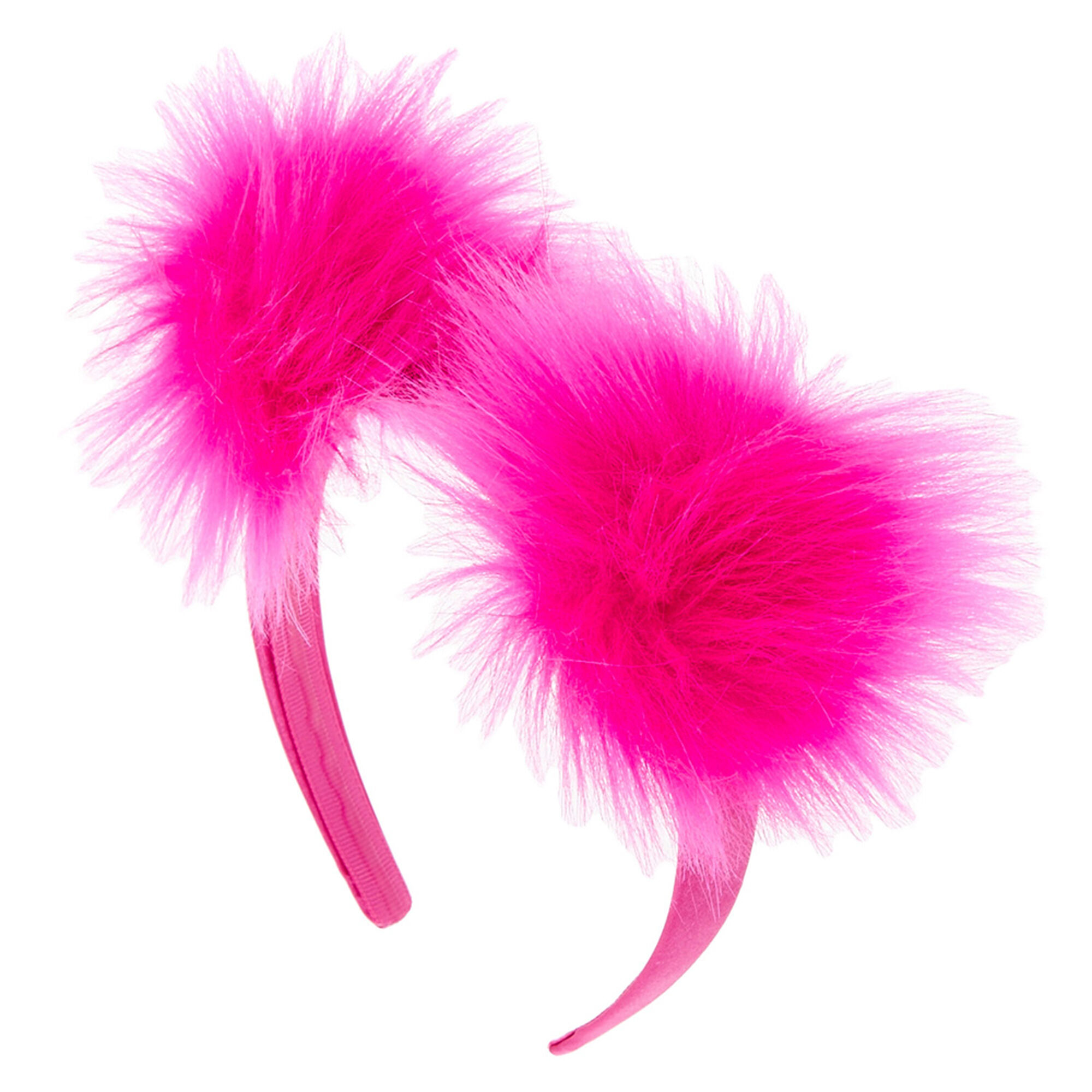 Hot Pink Furry Pom Headband | Claire's US