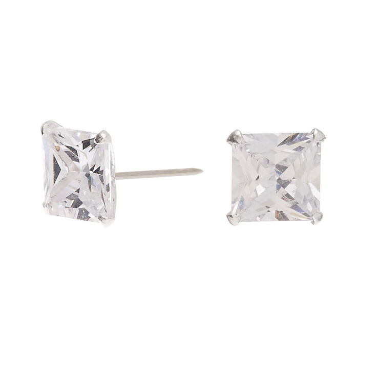 Sterling Silver Cubic Zirconia Square Martini Stud Earrings - 6MM,
