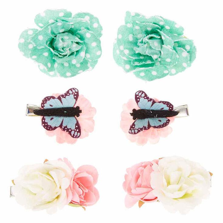 Lot de 6 barrettes motif papillons de jardin pour enfant,