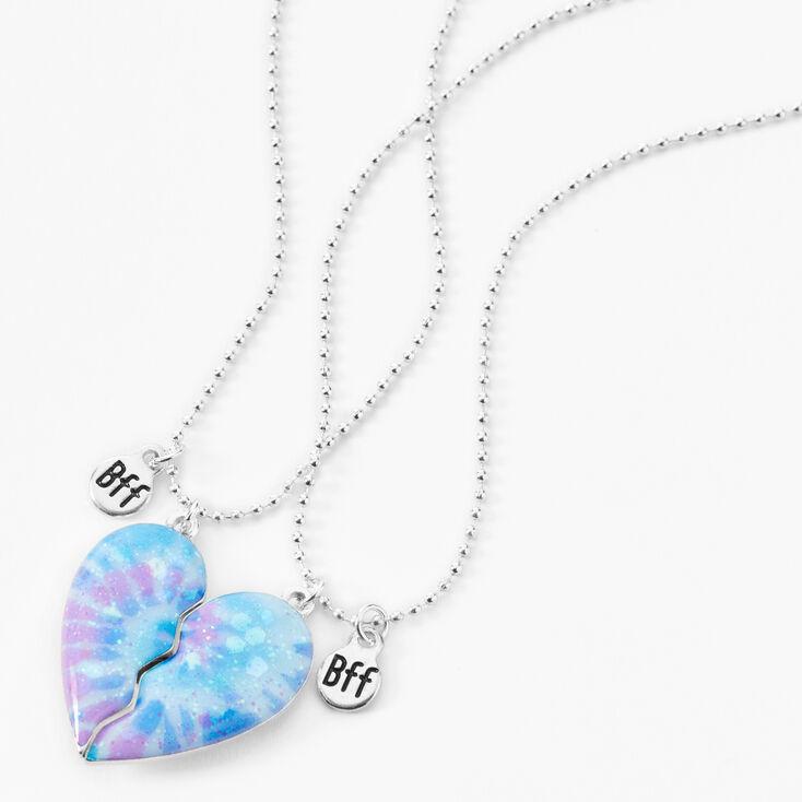 Best Friends Glitter Tie-Dye Split Heart Necklaces - 2 Pack,