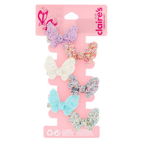 Claire's Club Glitter Butterfly Hair Clips - 6 Pack,