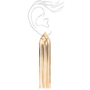 Gold Herribone Chain Fringe Drop Earrings,