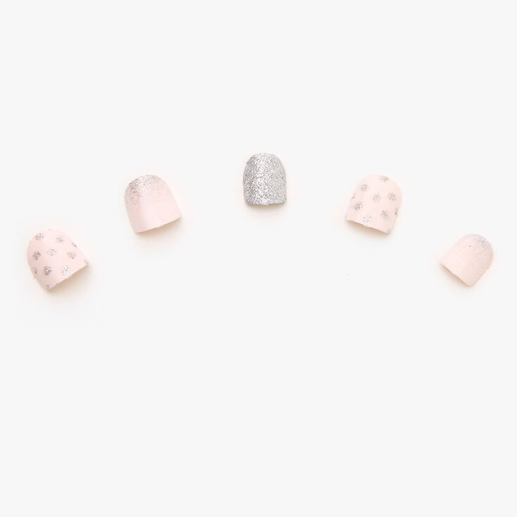 Claire's Club Silver Glitter Dot Faux Nail Set - Pink, 10 Pack,