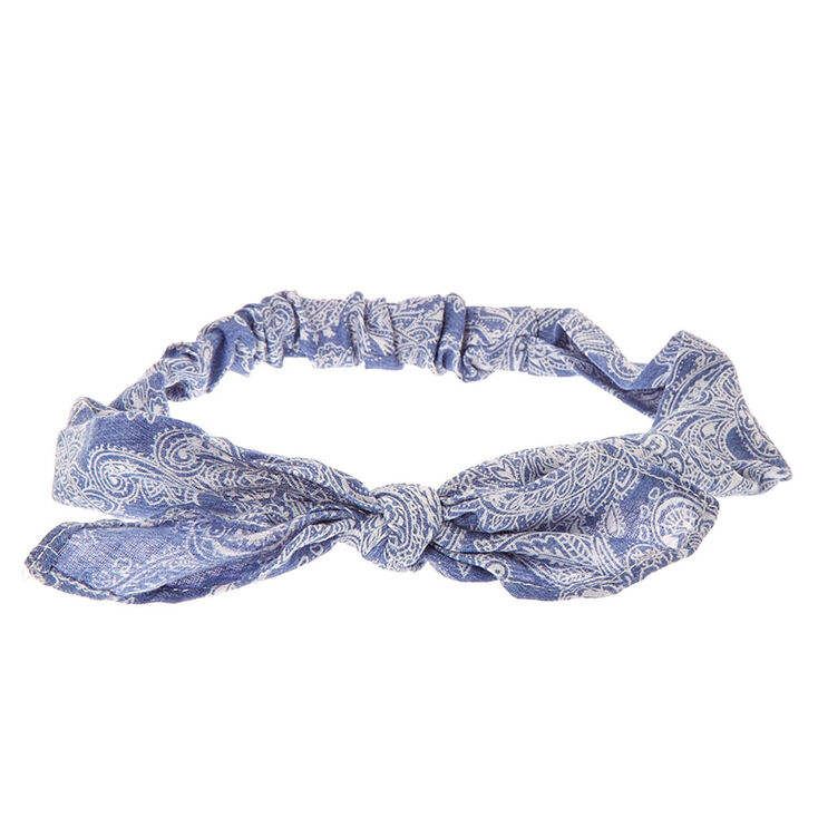 Paisley Denim Knotted Bow Headwrap Claire S Us