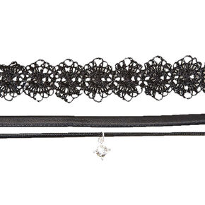 Silver Lace & Double Cord Choker Necklaces - Black, 2 Pack,